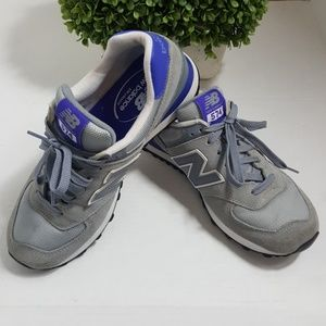 New Balance 574 gray purple athletic shoes classic